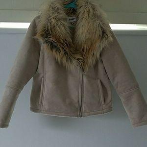 Bb Dakota suede jacket with faux fur collar